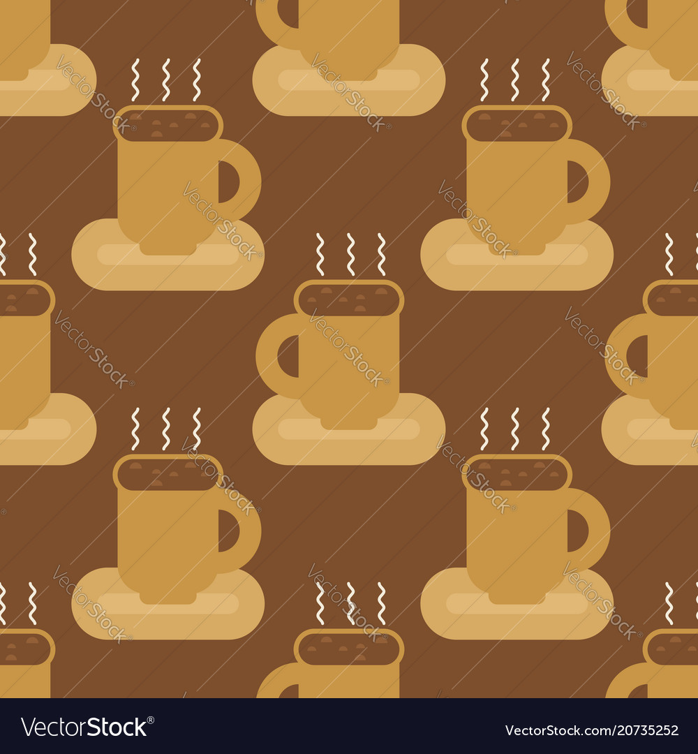 Coffee mug seamless pattern cup of hot drink