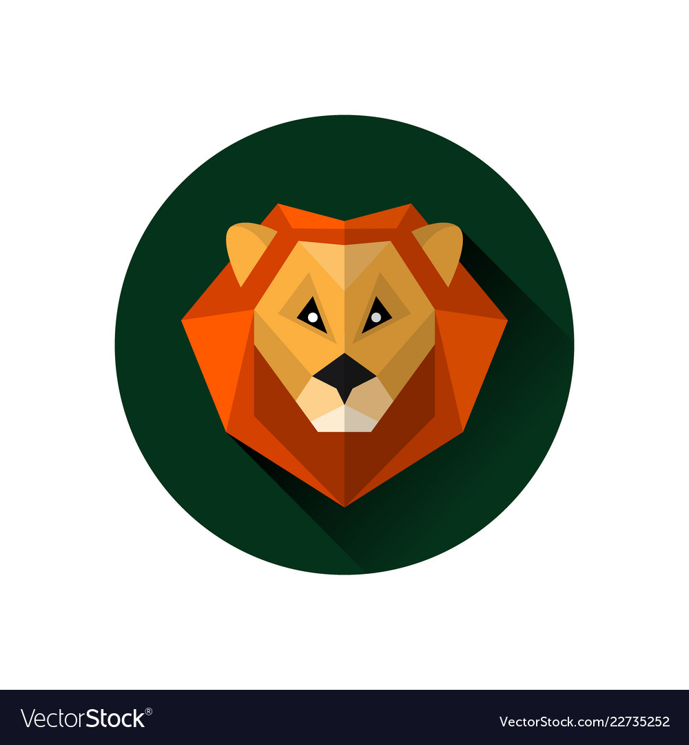 Flat style lion icon isolated on a white