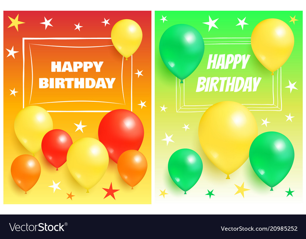 Happy birthday backgrounds invitation cards set