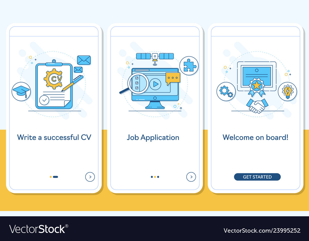 Job searching onboarding mobile app page screen