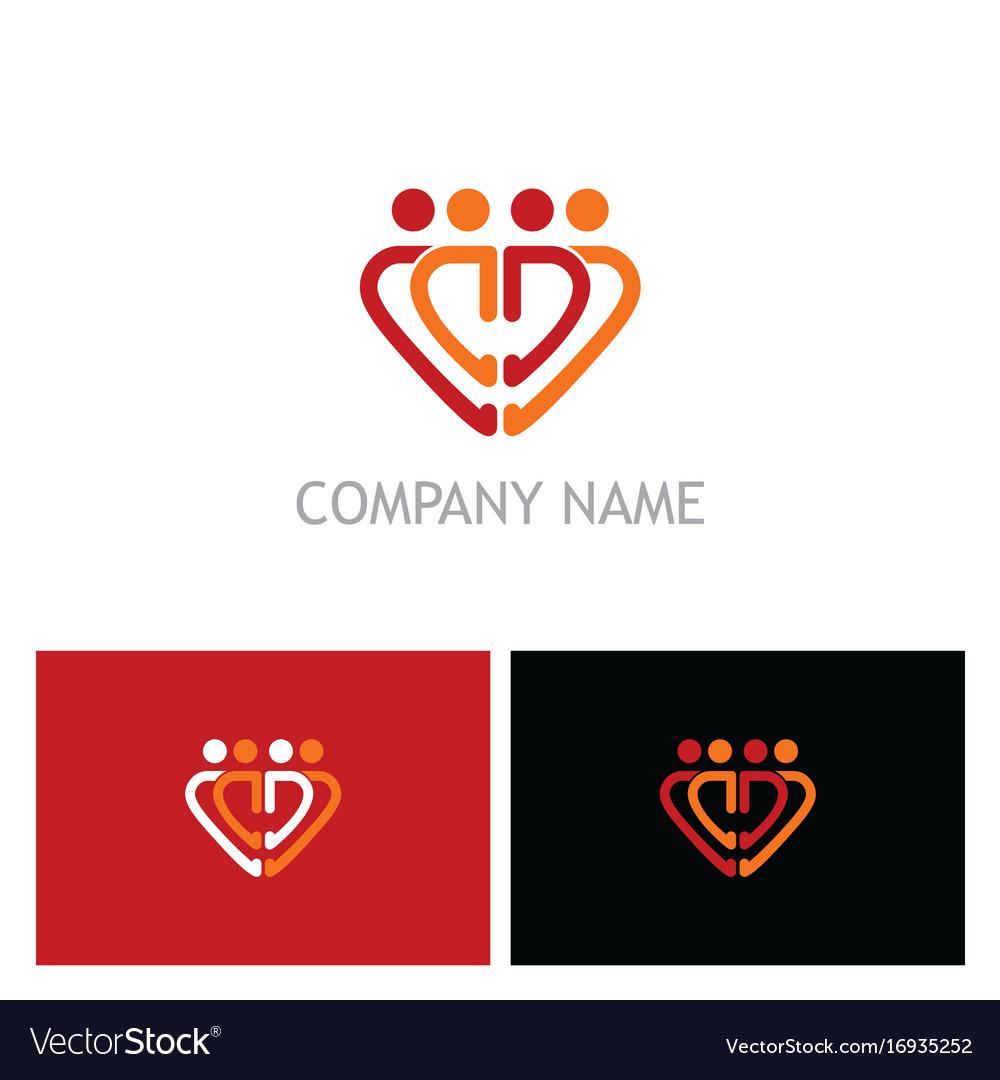 Love heart people group logo