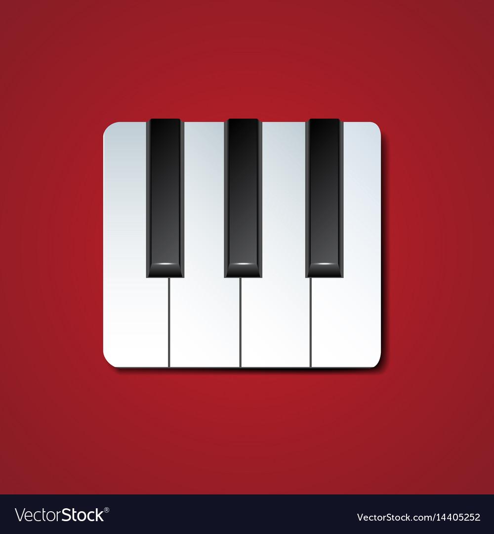 Piano keys icon with drop shadow vector image