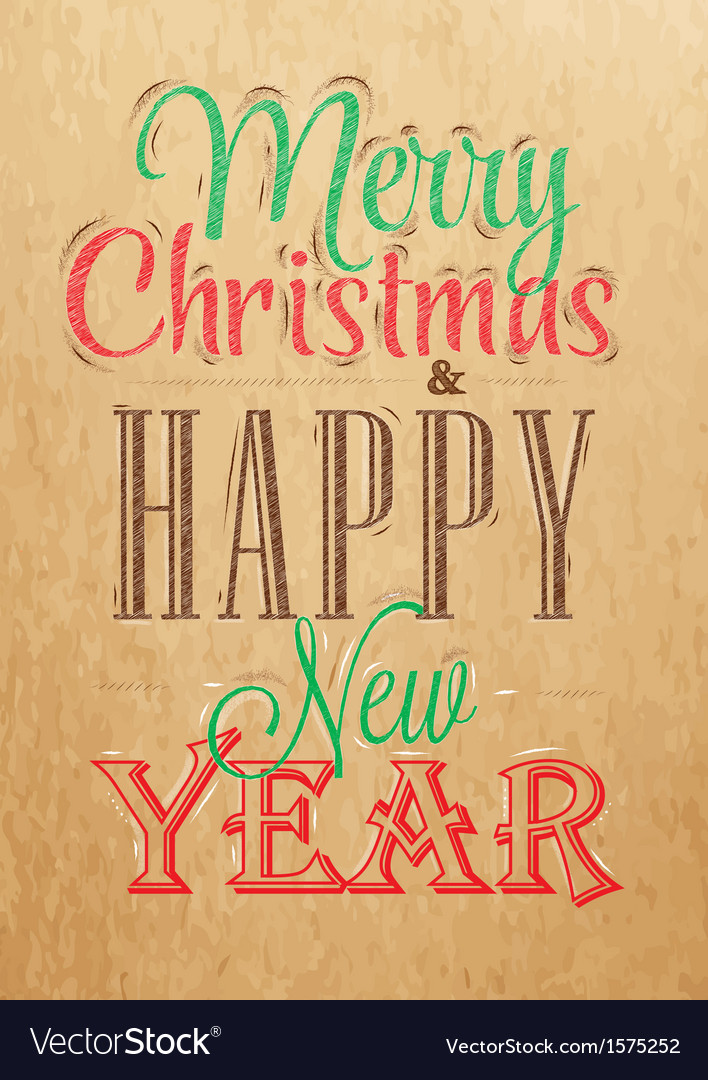Poster merry christmas happy kraft color