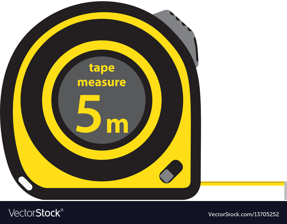 Roulette construction tool yellow measure tape in