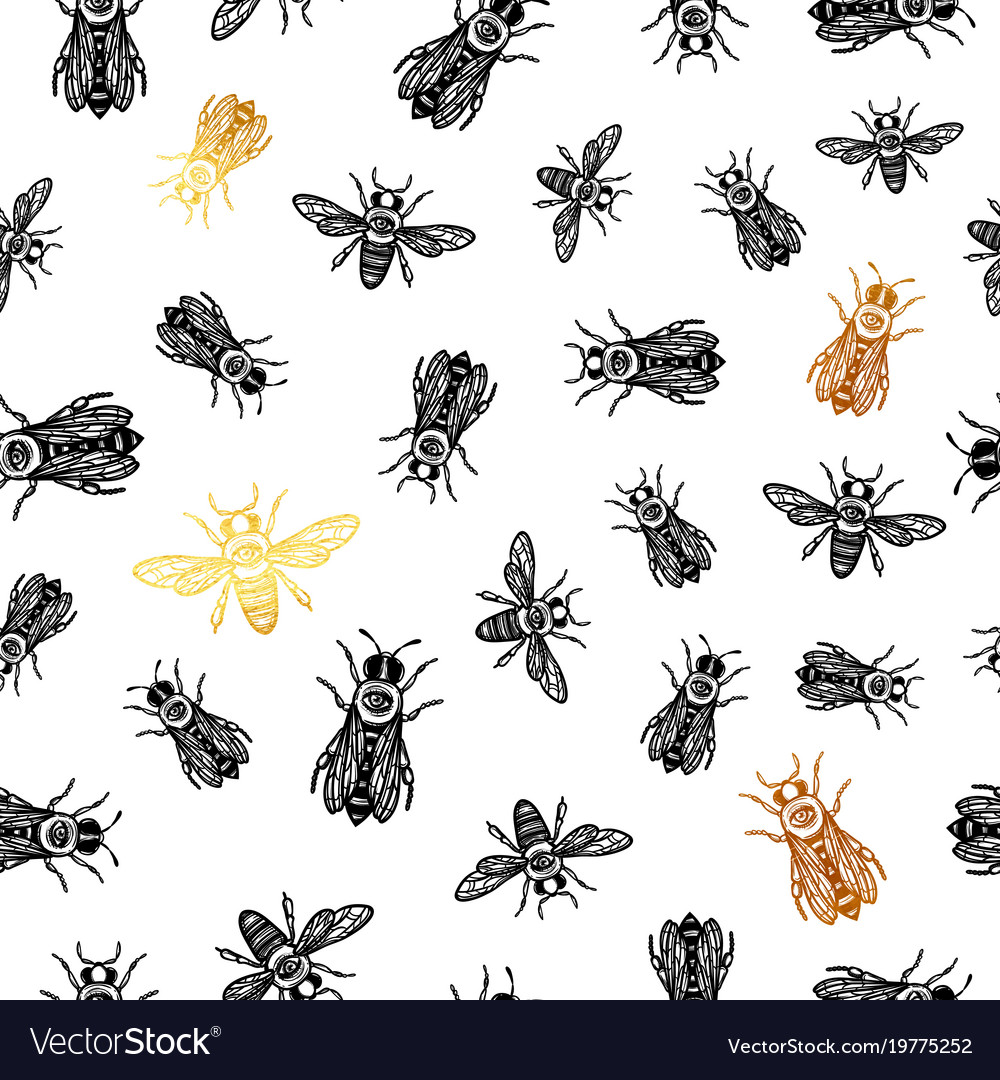 Seamless pattern with bees bees with eye