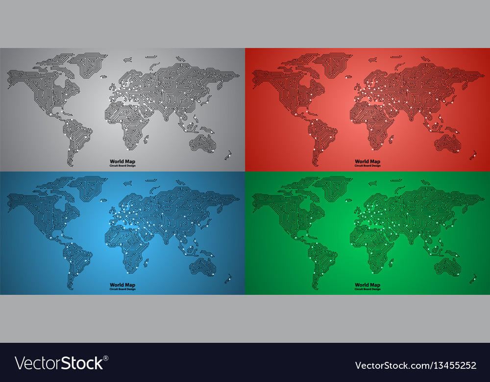 Set of world map pcb design