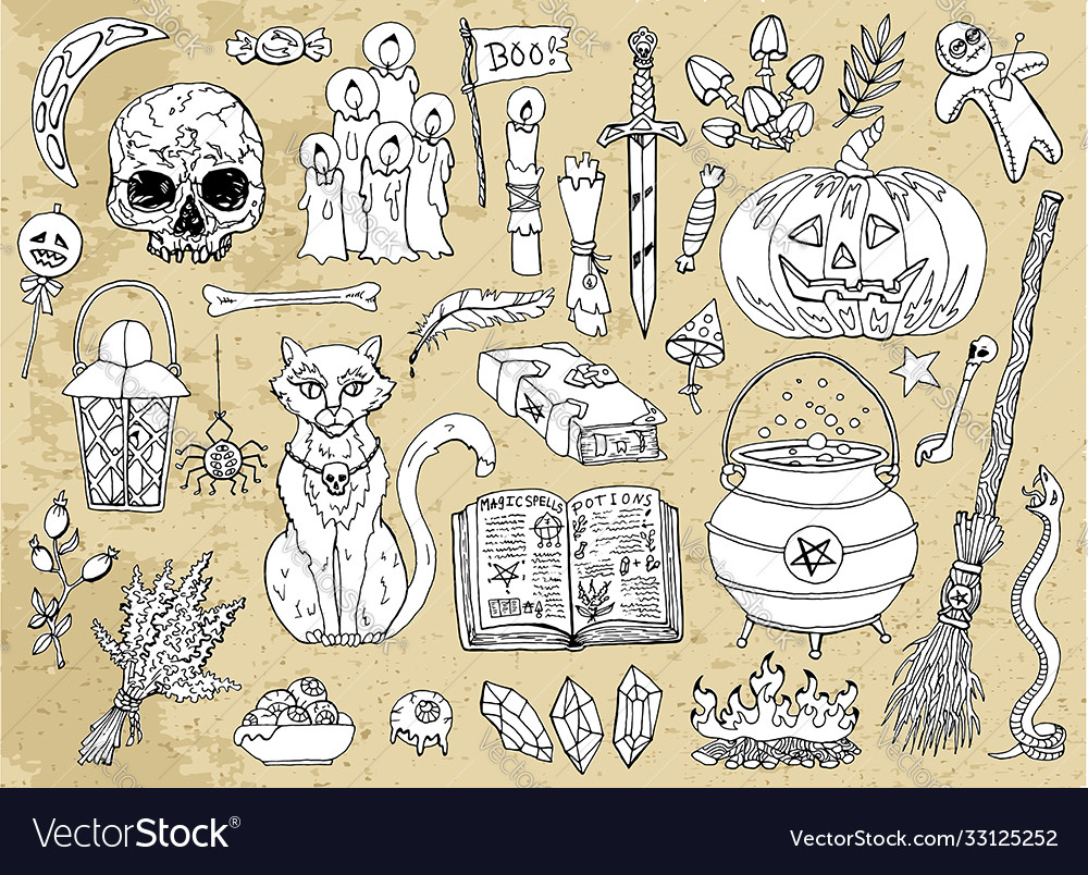 Set scary halloween traditional symbols and obj