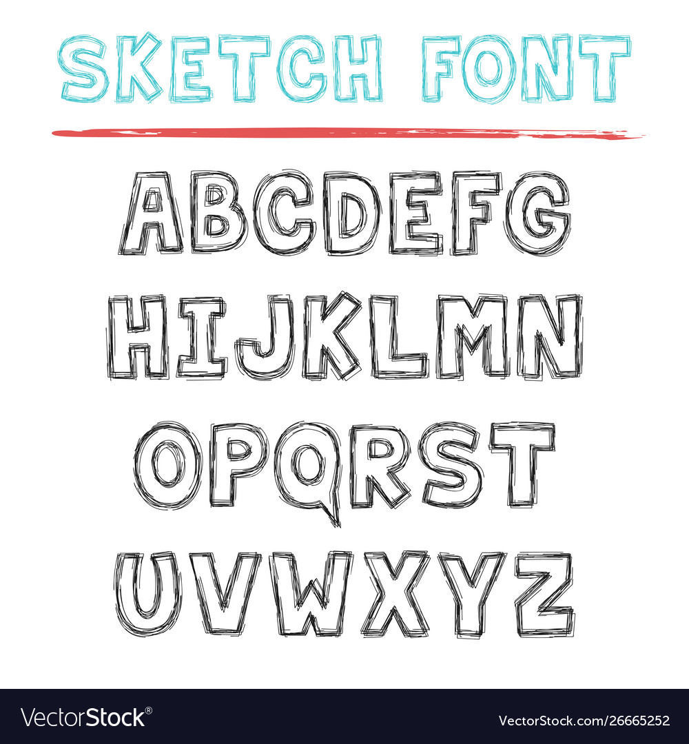 Sketch font decorative latin alphabet type set