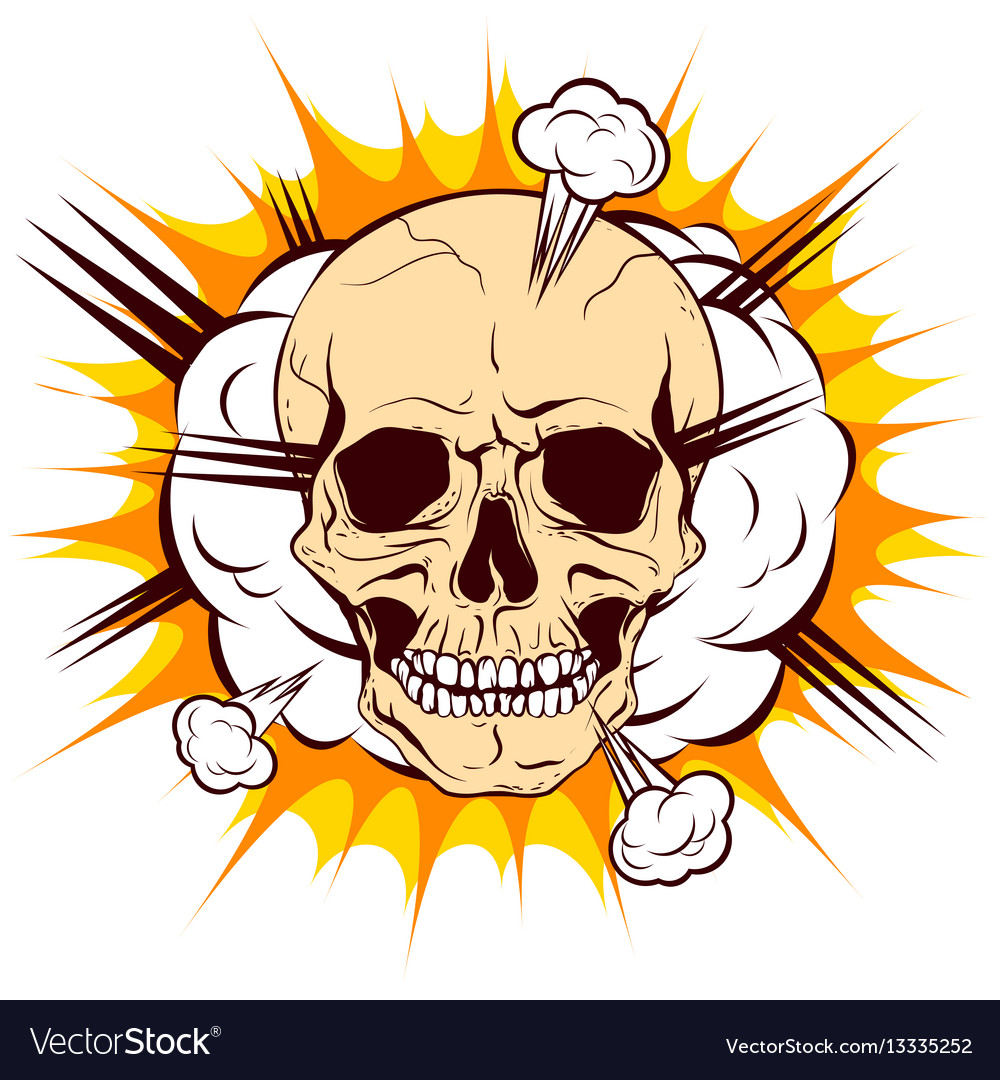 Skull on background cloud explosion