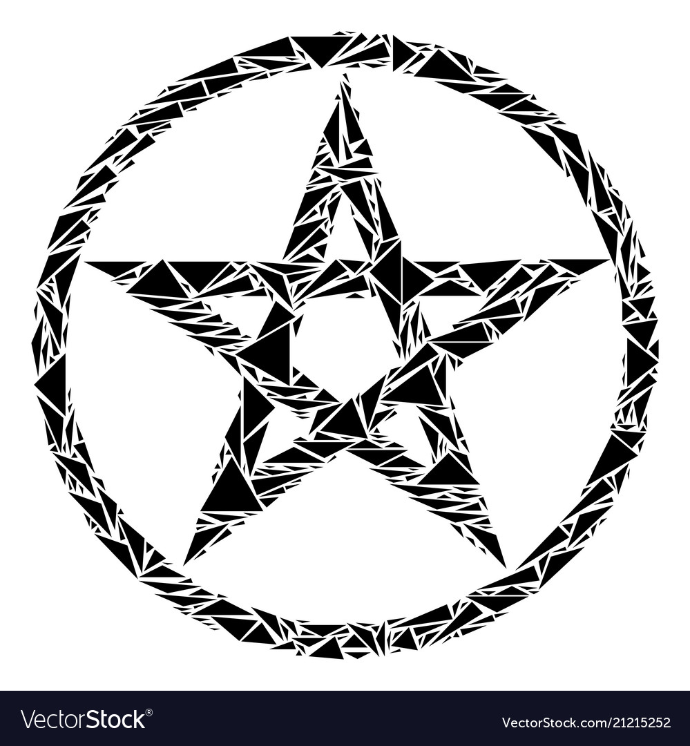 Star pentacle collage of triangles
