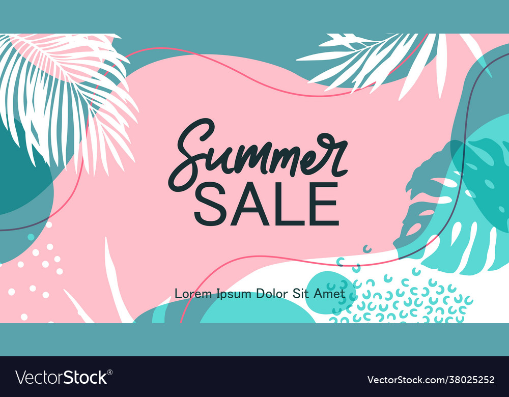 Summer sale background colorful palm leaves