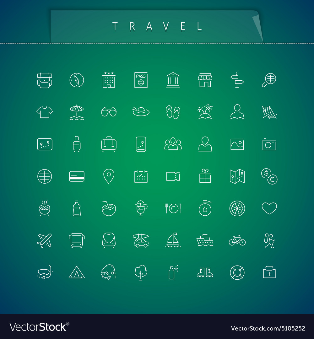 Travel and Vacation Thin Icons Set