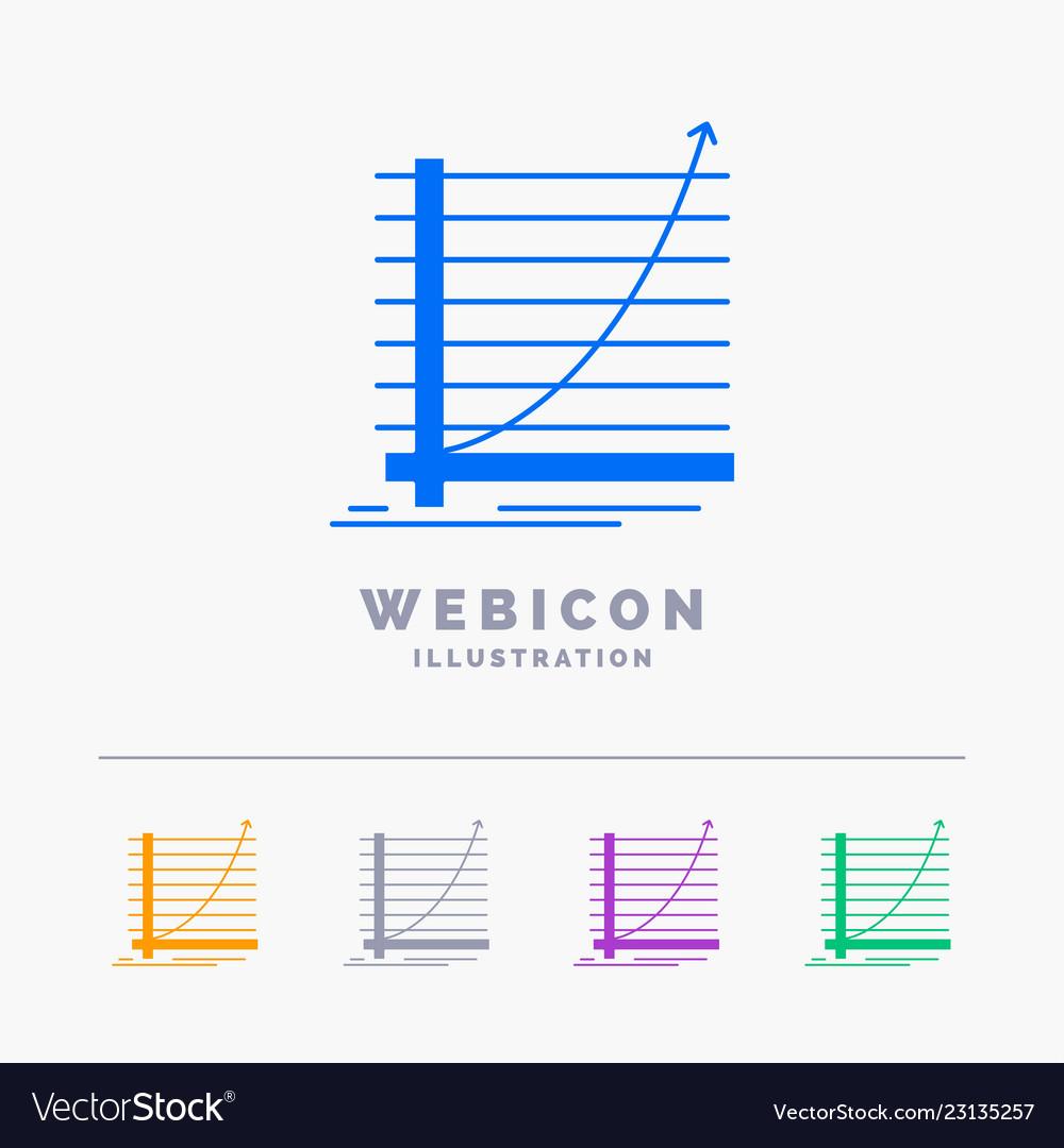 Arrow chart curve experience goal 5 color glyph