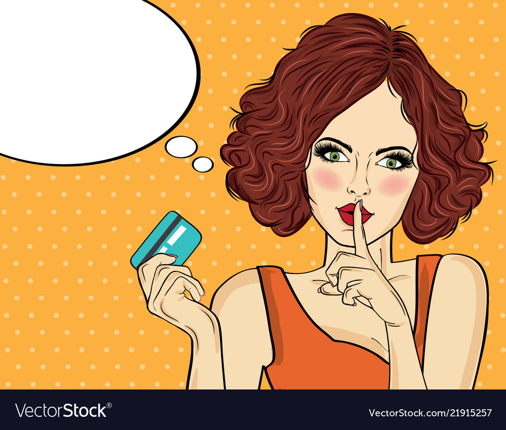 Stock vector pretty beautiful young women with a credit card pop art vector illustration-60