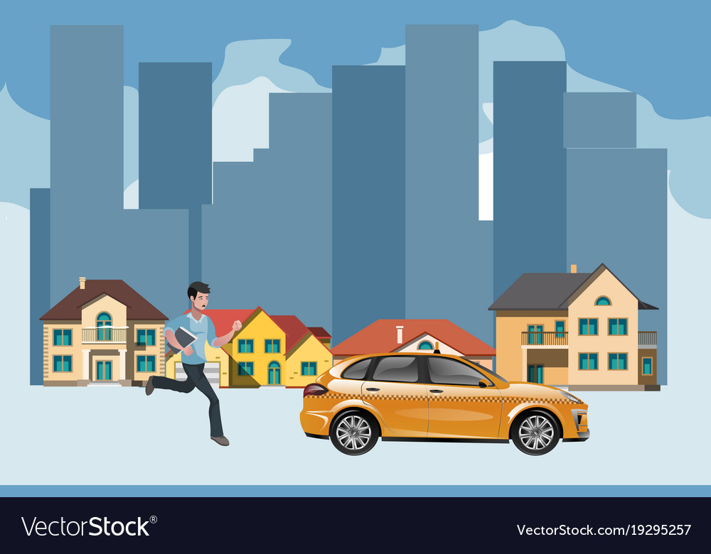 Businessman in a hurry for the departing taxi vector image