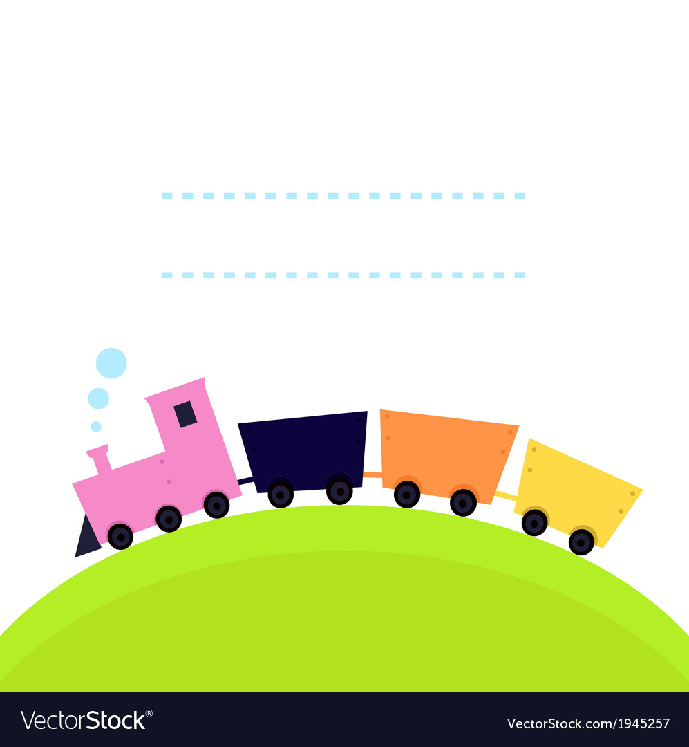 Cute colorful Train on hill with copy space