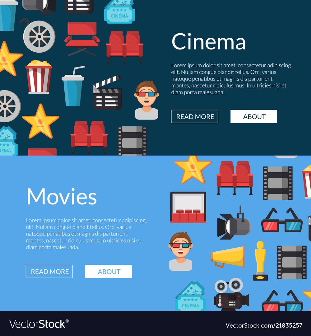 Flat cinema icons web banner templates