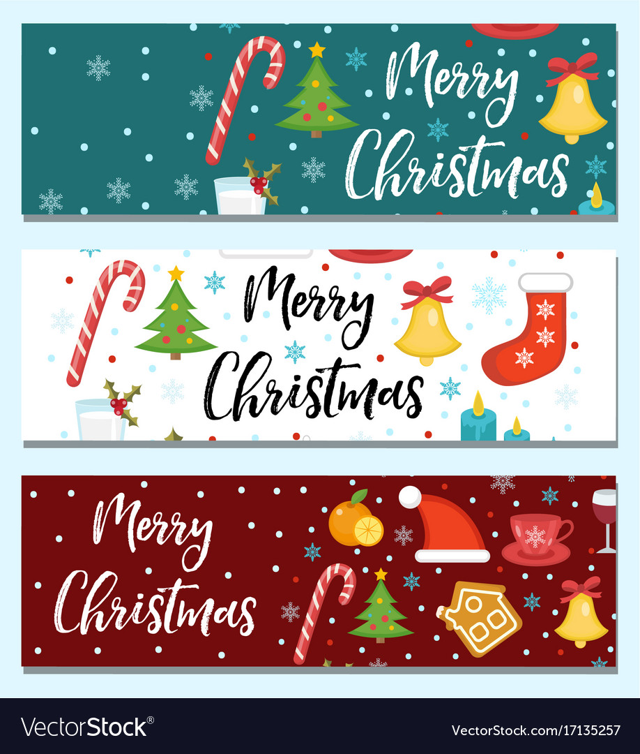 Merry christmas set of banners template with