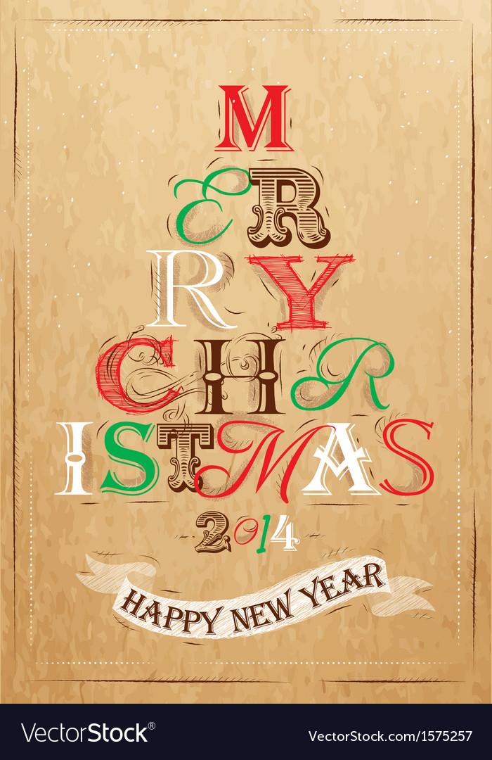 Poster tree christmas happy kraft color