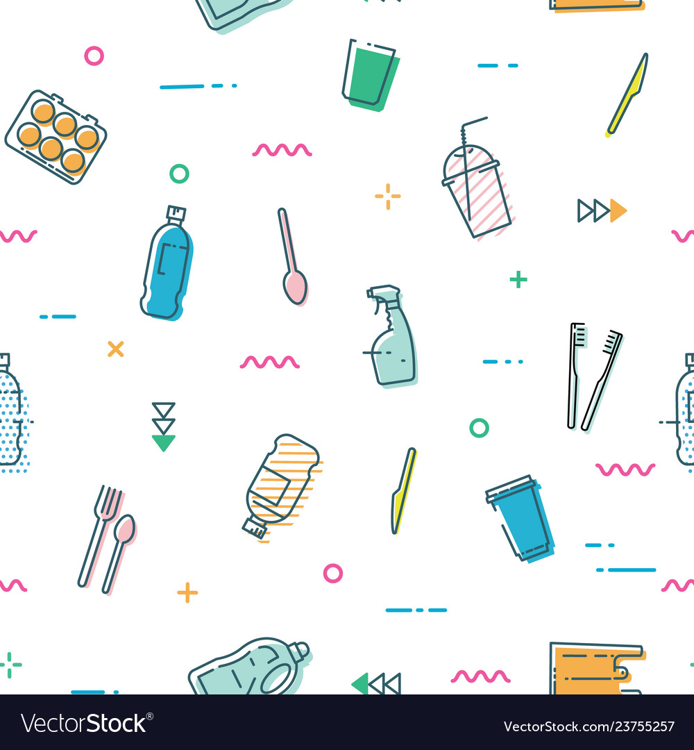 Seamless pattern with different kinds of plastic