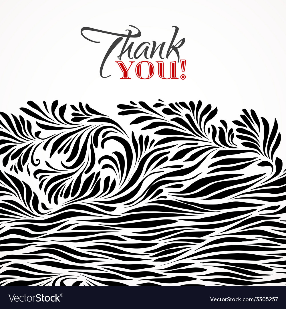 Thank you typographic card with ink floral