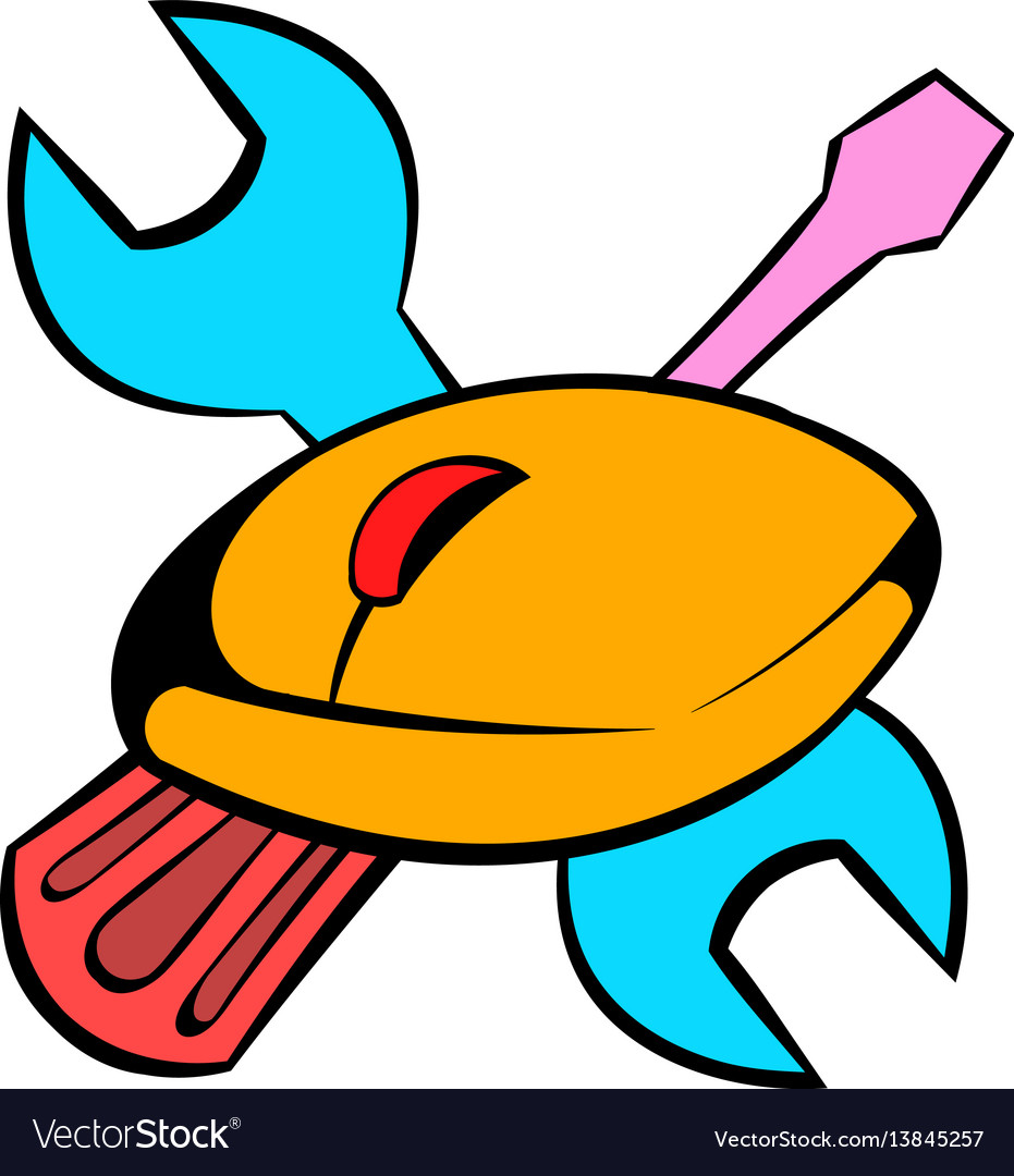 Tools and mouse icon cartoon vector image