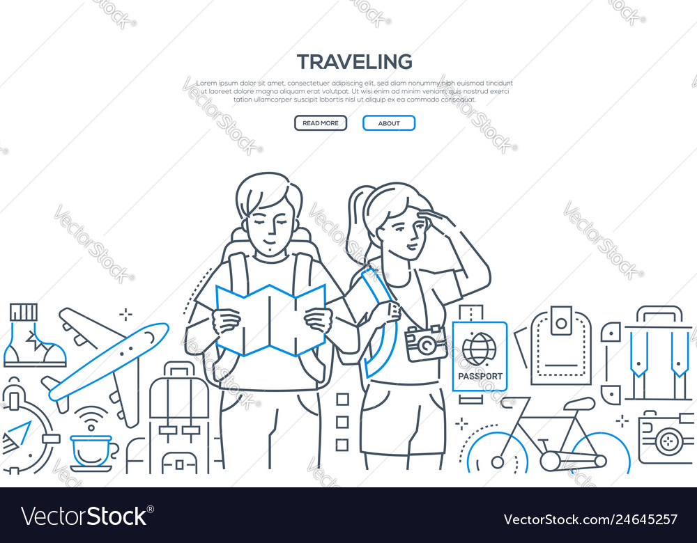 Traveling - line design style web banner