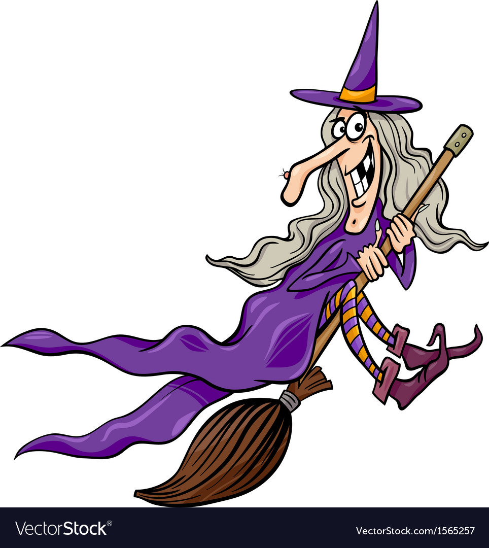 Witch on broom cartoon