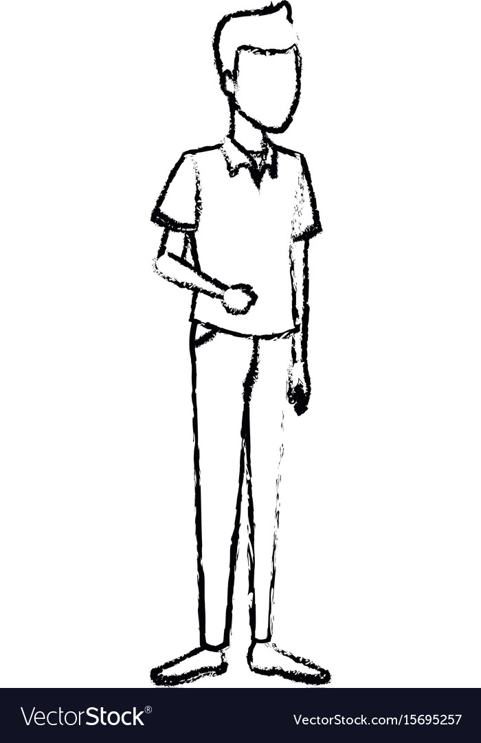 Young man student standing cartoon person image