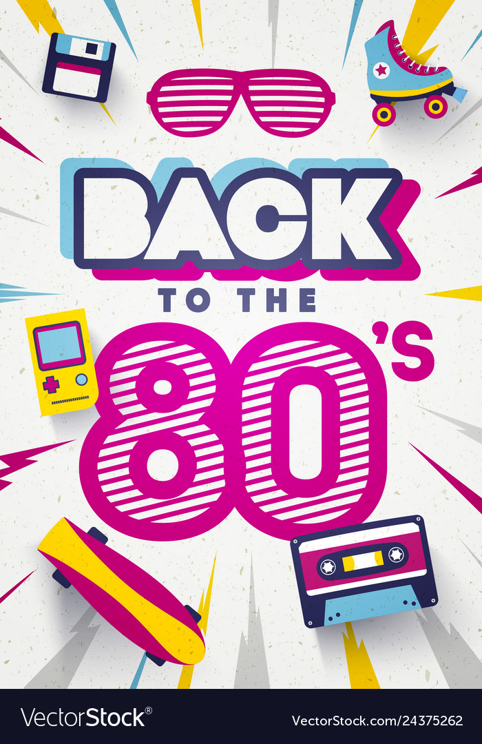 Back to 80s colorful retro background