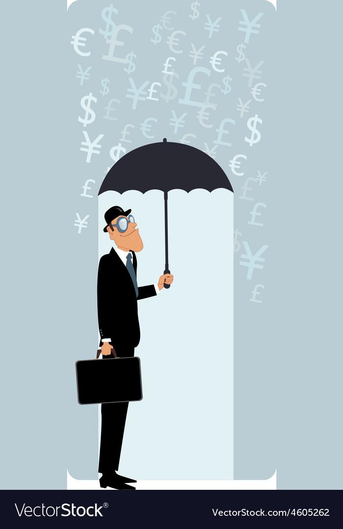British businessman under umbrella
