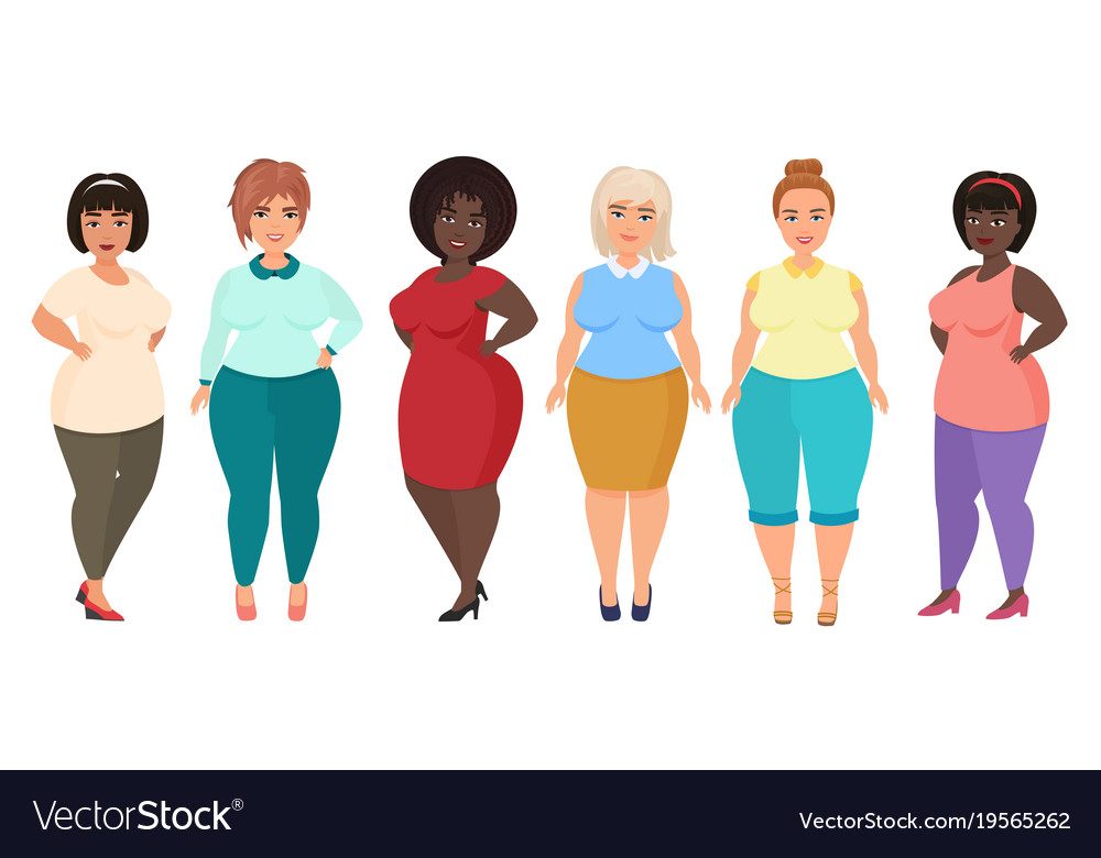Cartoon happy and smiling plus size woman vector image