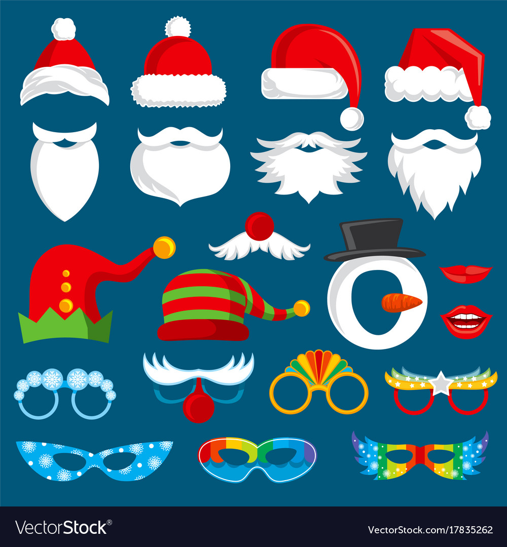 fa8801d56f58c Christmas holiday photo booth props Royalty Free Vector