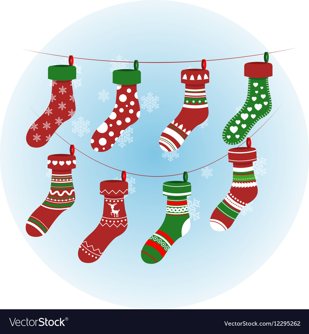 Christmas socks in red colour colorful