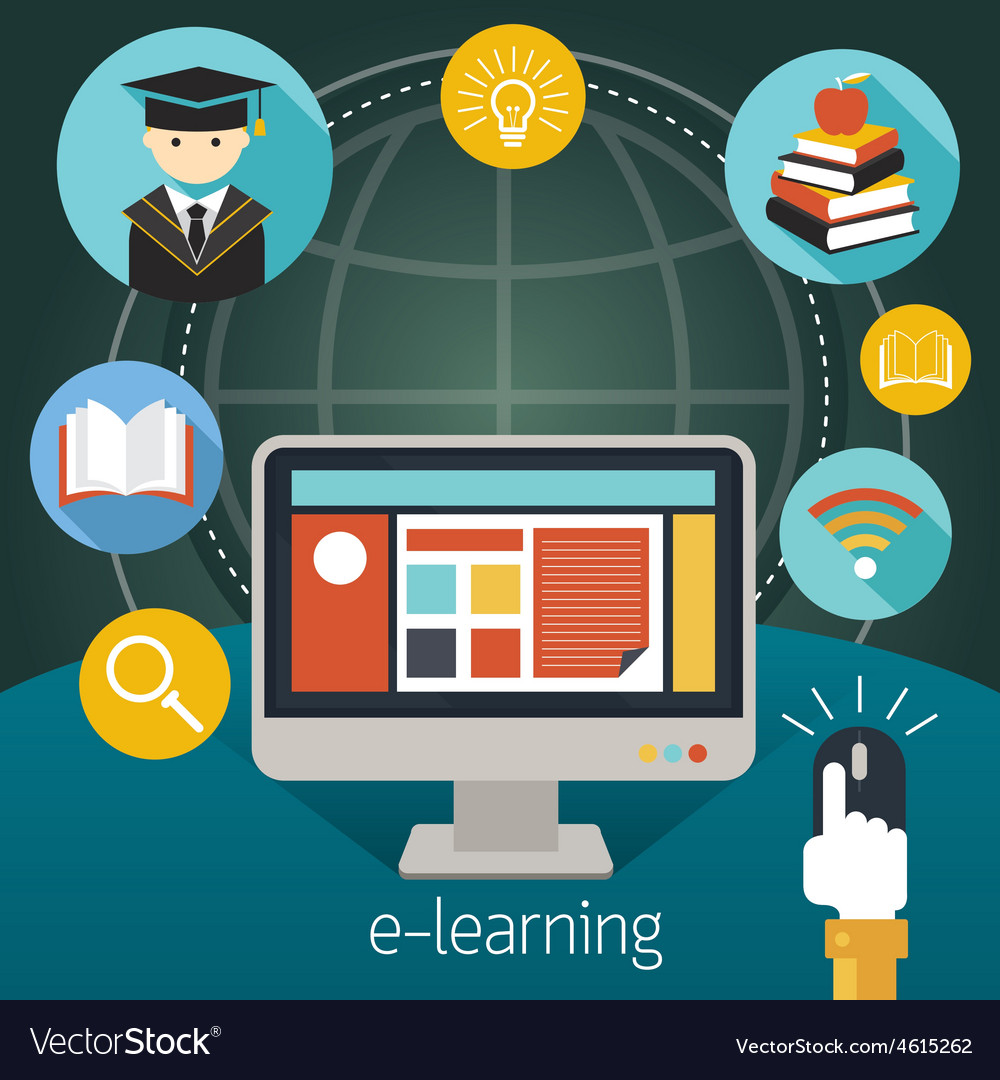Computer Monitor and Hand Click Mouse E-Learning vector image