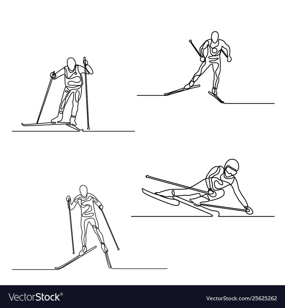 Continuous one line set skiers one line
