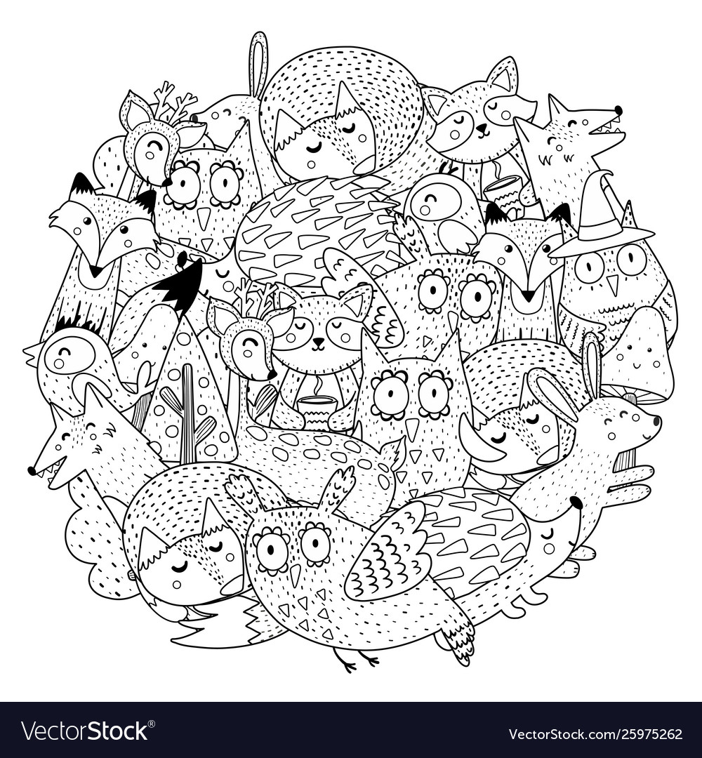 fantasy forest animals circle shape coloring page vector