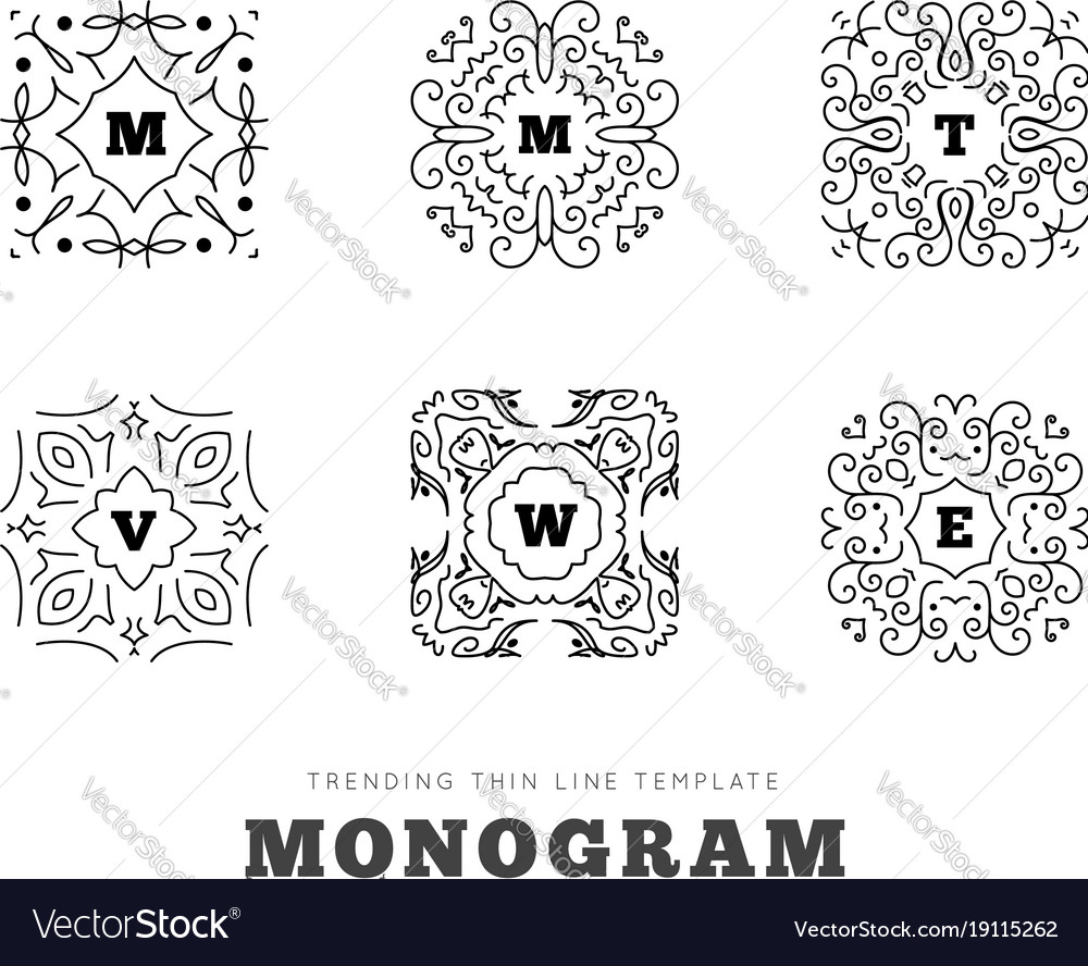 Monogram series with letters on white background