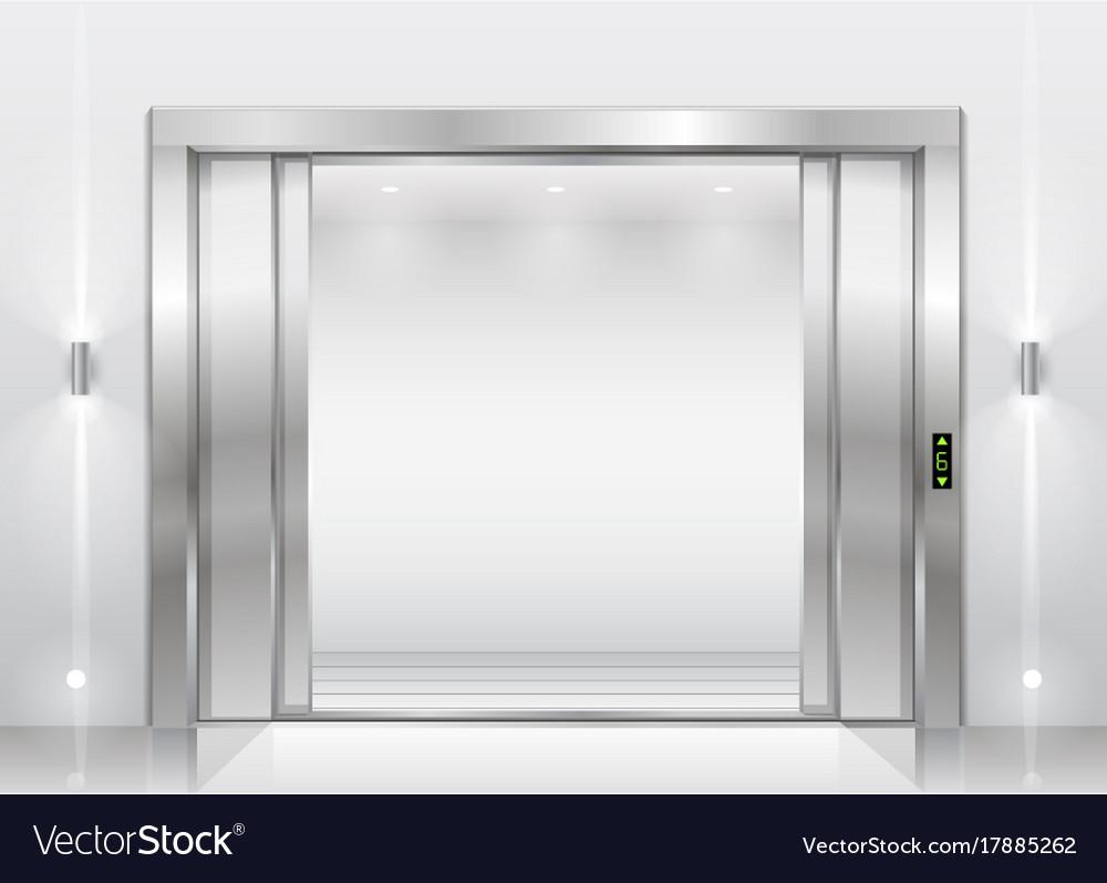 Open the elevator doors vector image & Open the elevator doors Royalty Free Vector Image