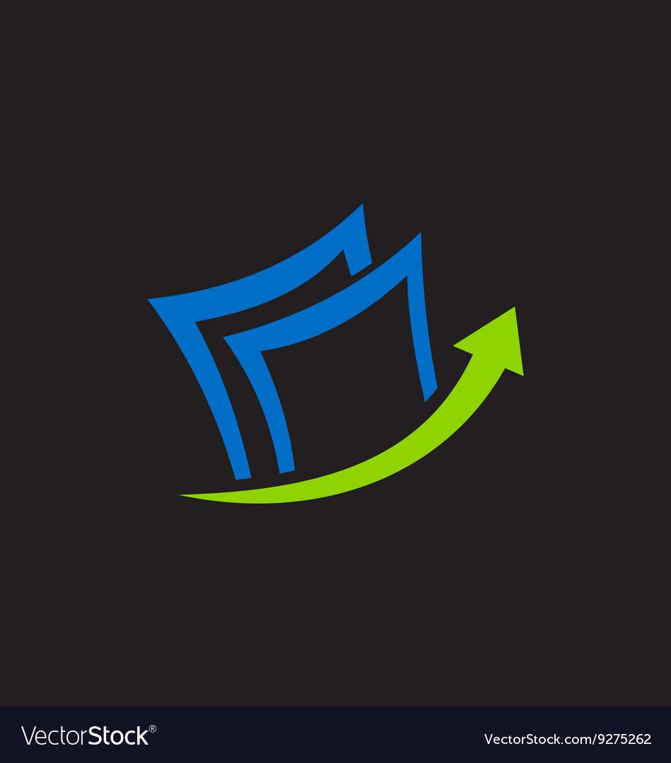 Paper data arrow business finance logo