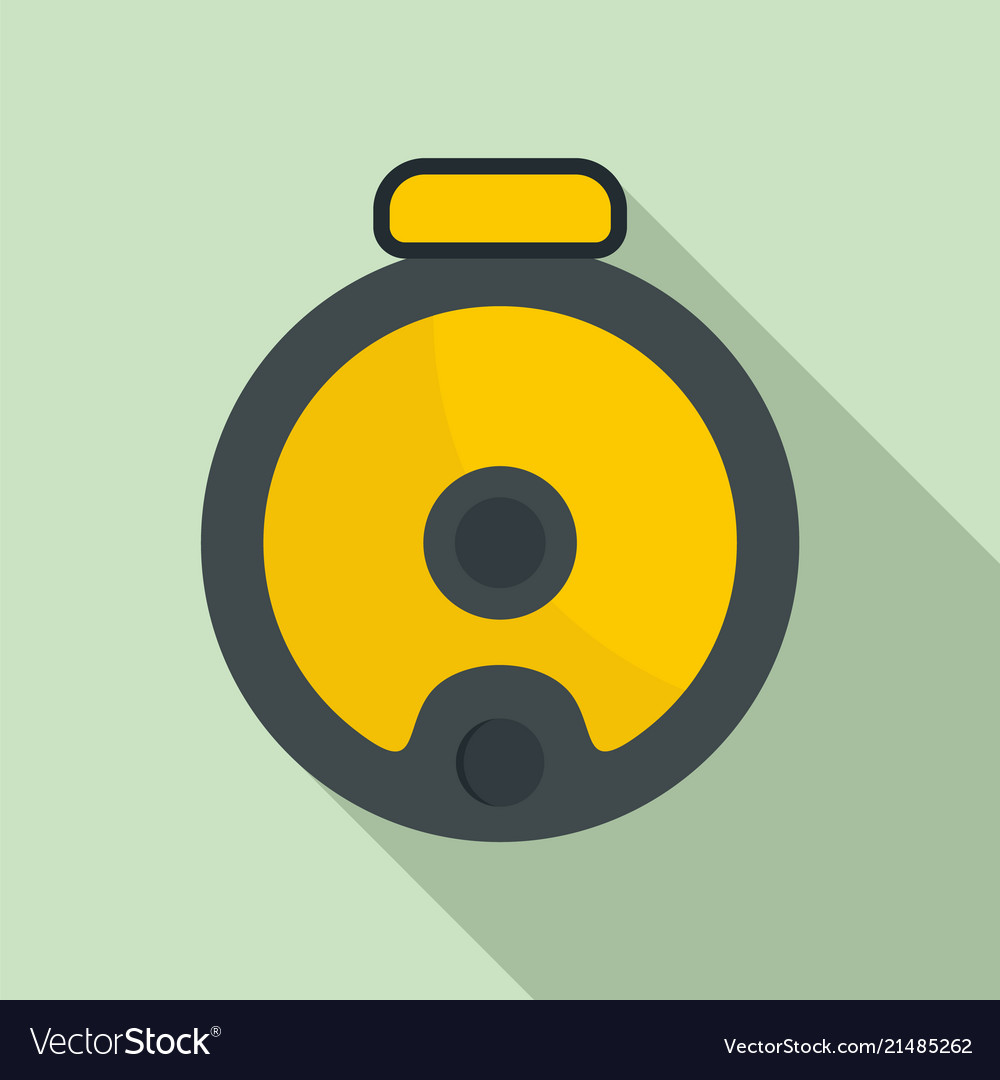Top view robot vacuum cleaner icon flat style