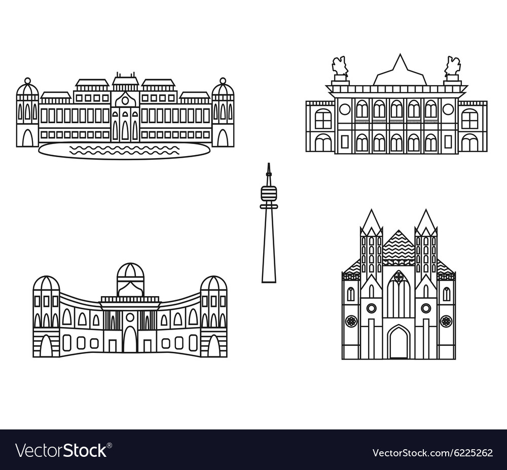 Vienna black silhouette city skyline buildings