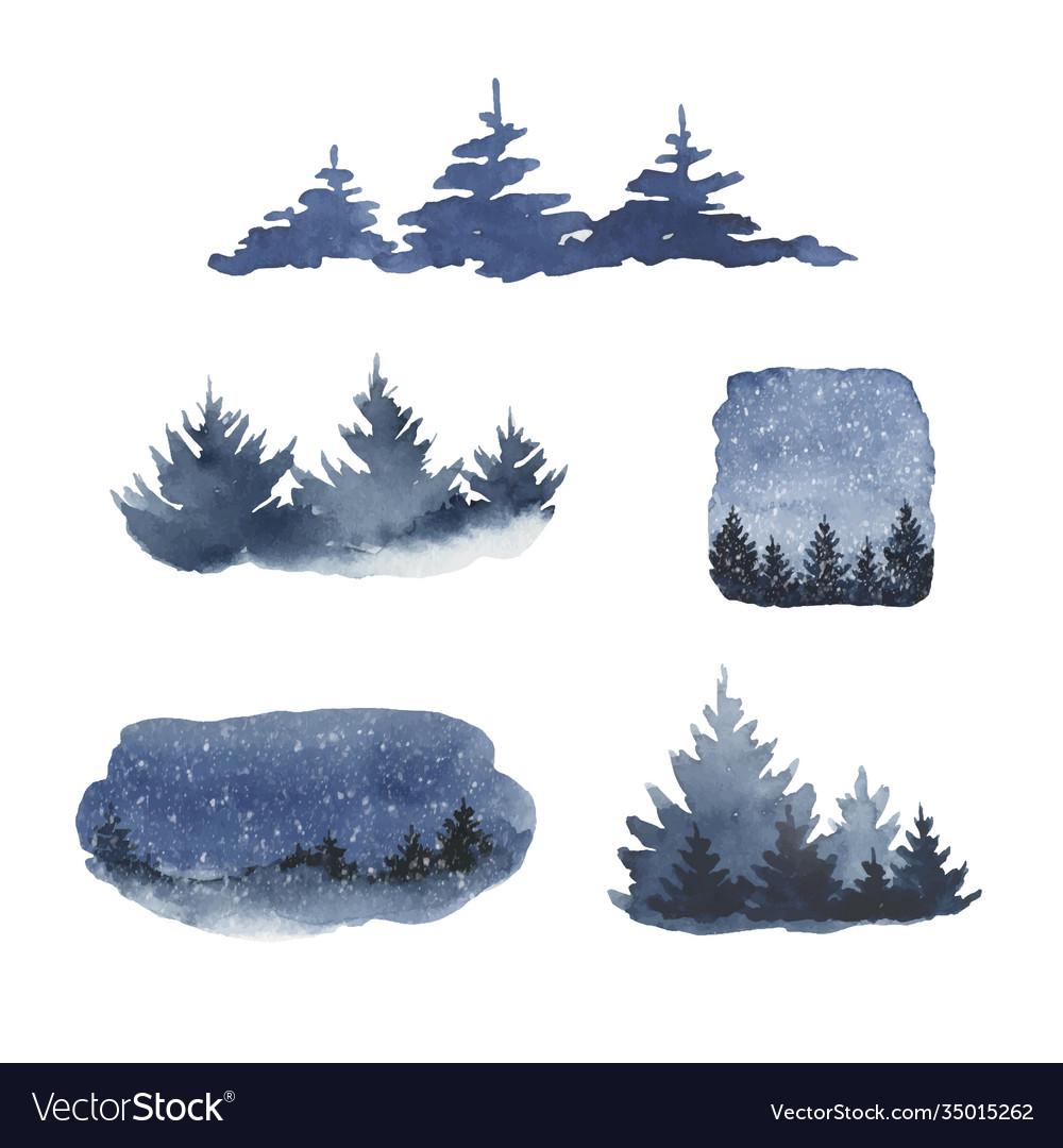 Watercolor set forest winter landscapes
