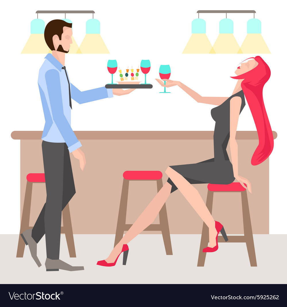 Woman on chair with a glass wine vector image