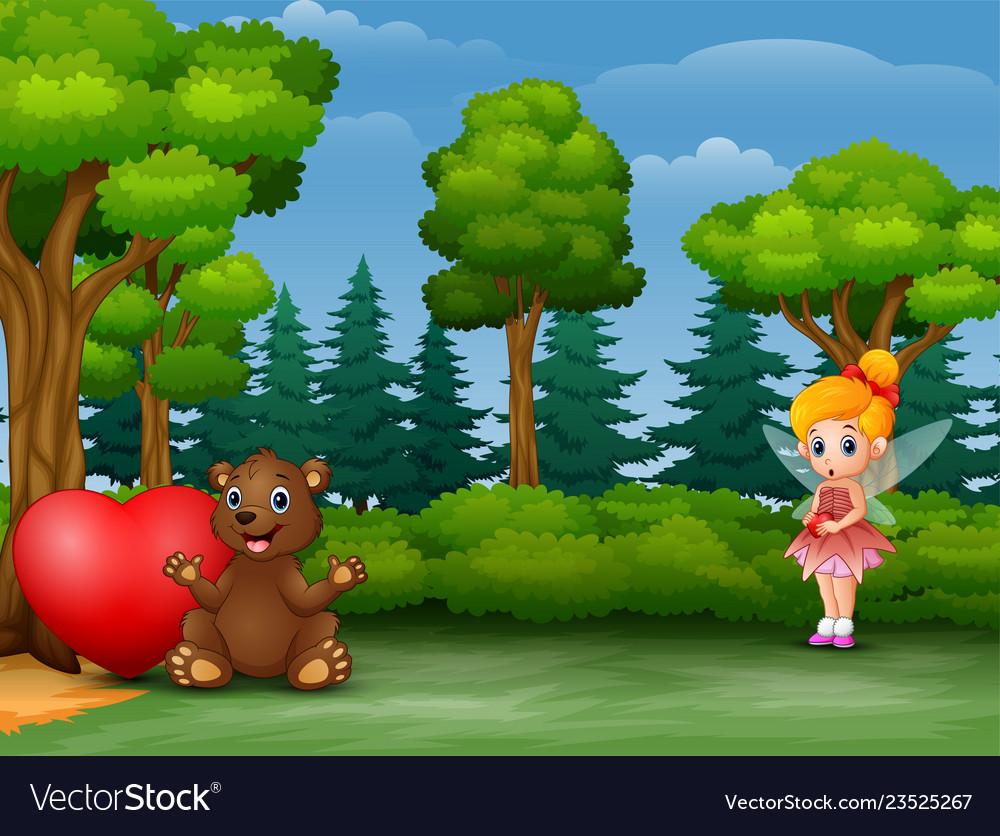 Cute little love fairy holding a heart with a bear