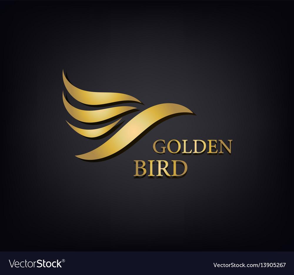Golden phoenix bird brand animal logoluxury