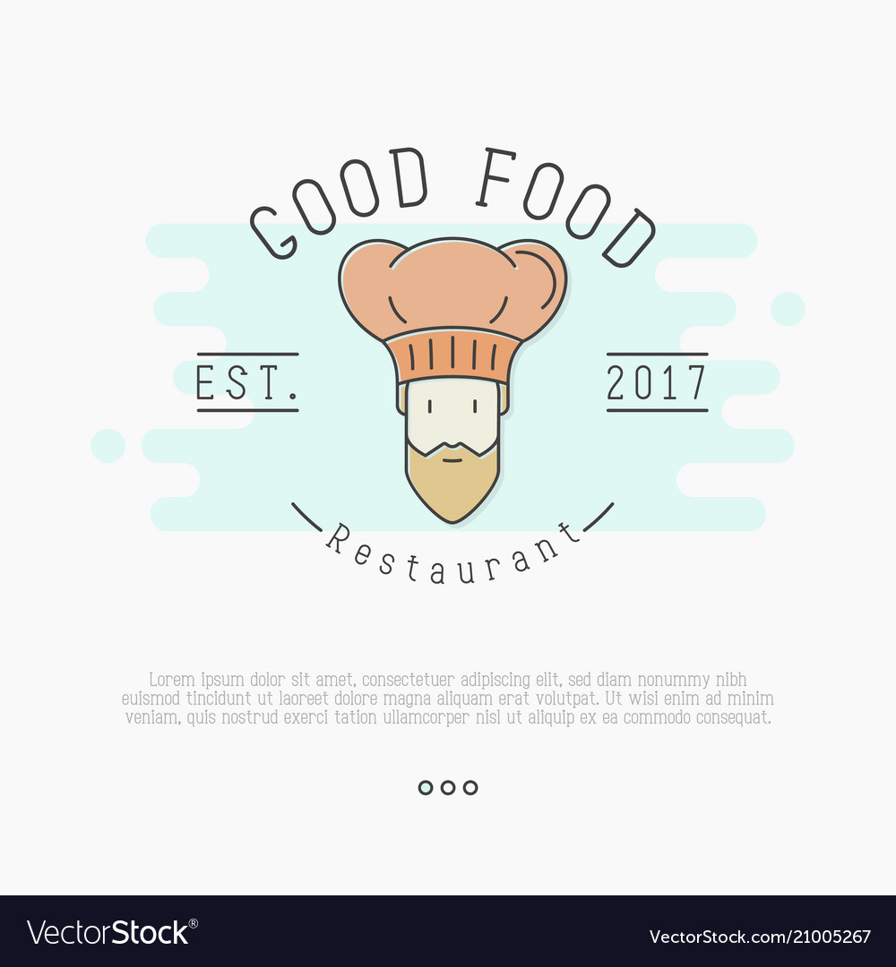 Logo with bearded chef in hat for restaurant