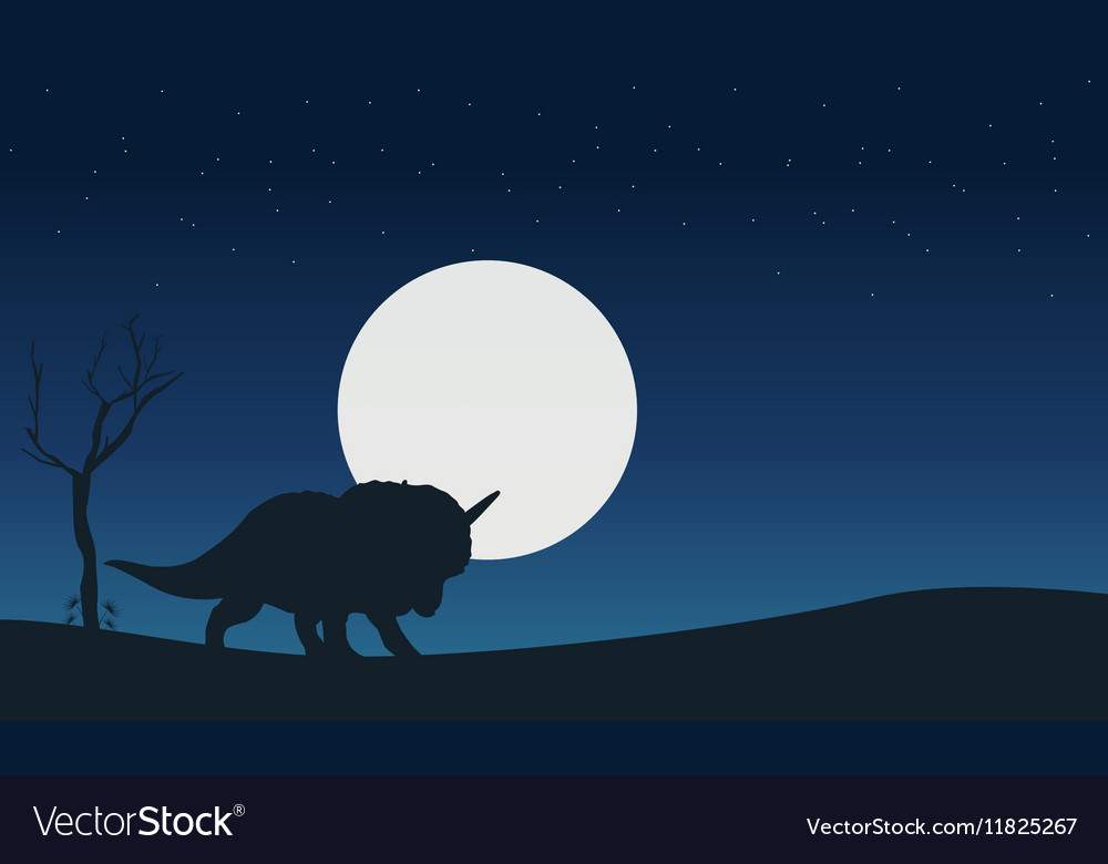 On the hill triceratops dinosaur scenery of
