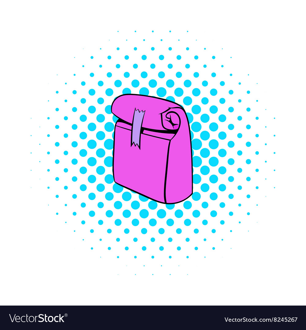Paper pink lunch bag icon comics style vector image