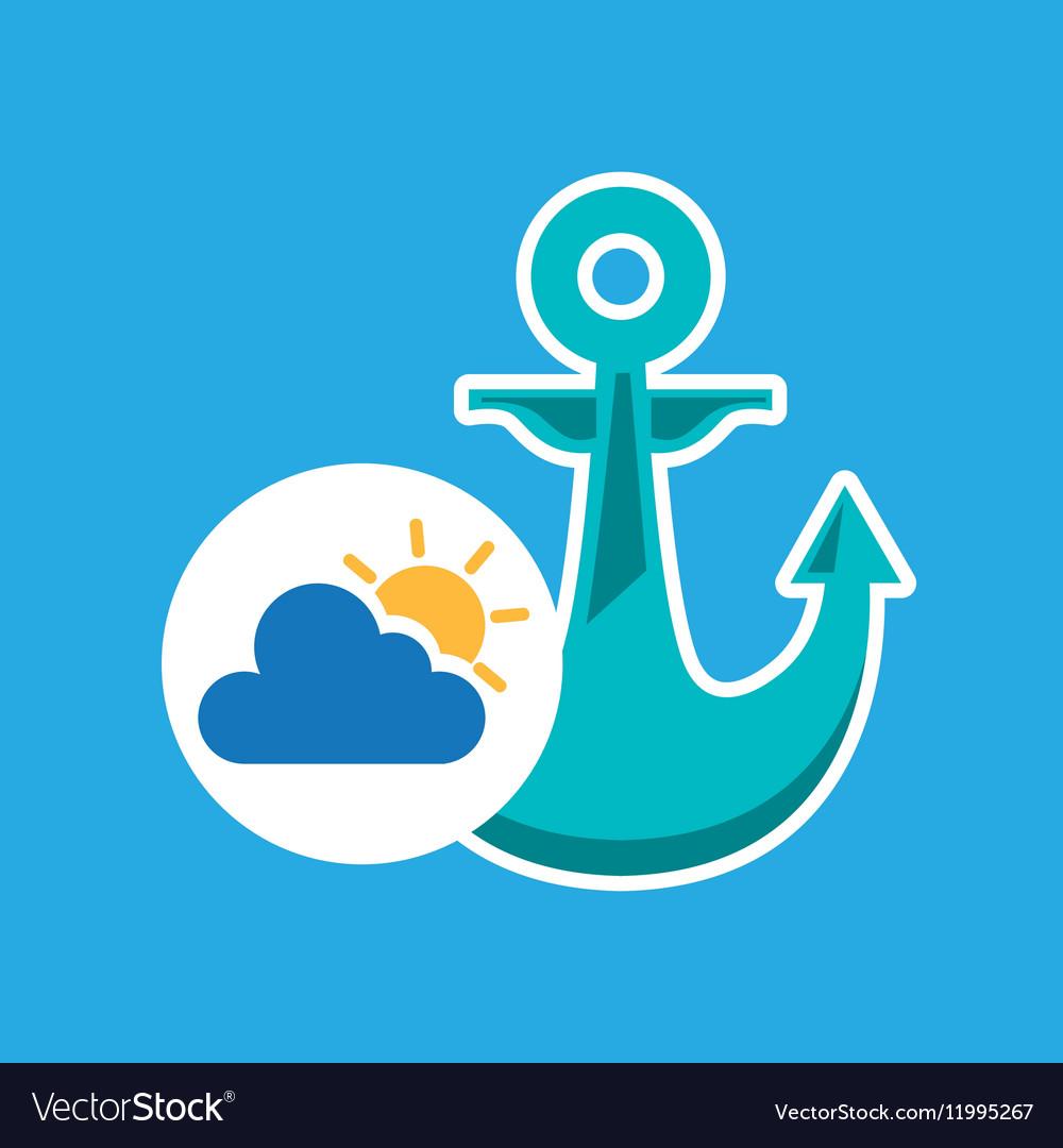 Summer vacation design nautical anchor icon